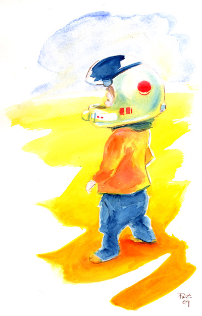 zdepski's watercolor of SpaceKid variation 2