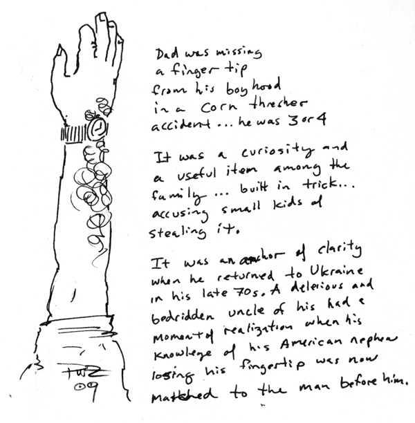 zdepski's ink sketch of his father's hand missing a fingertip