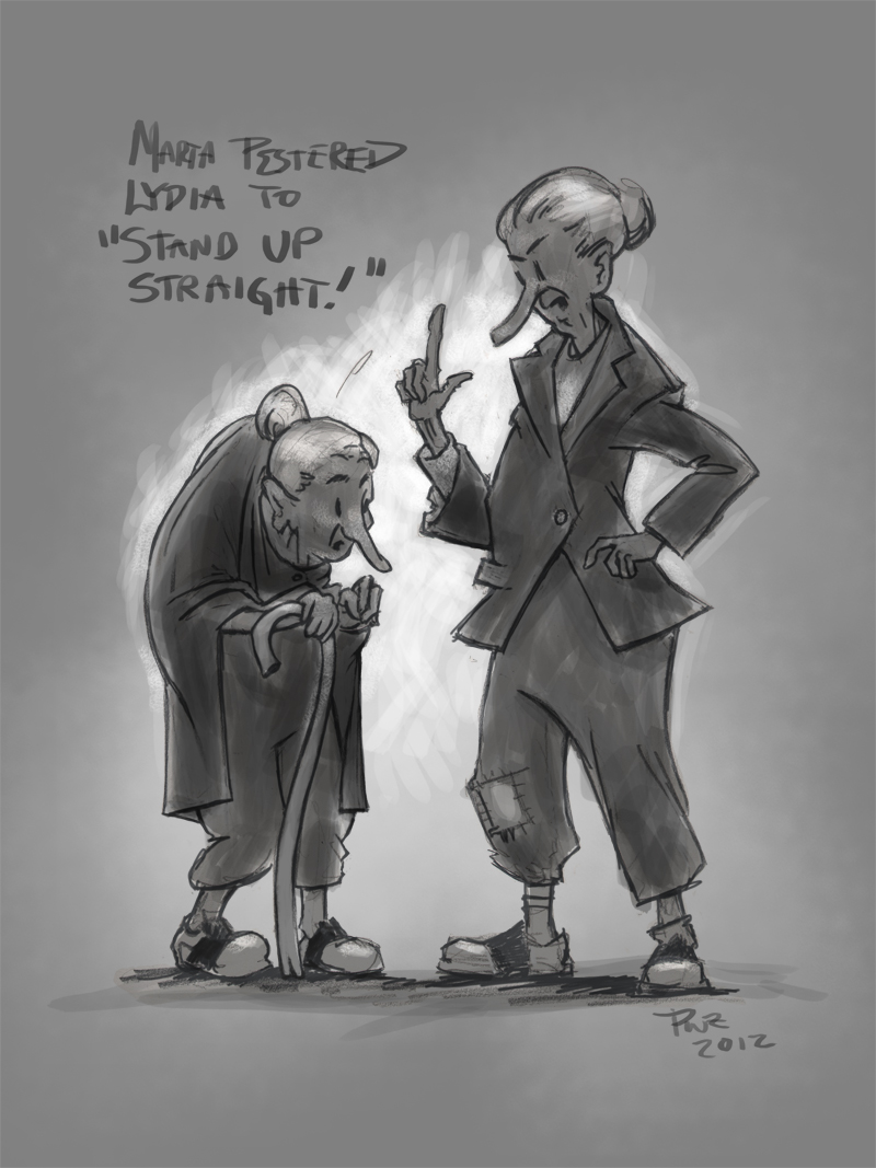 zdepski's illustration of Marta telling Lydia to Stand Up Straight