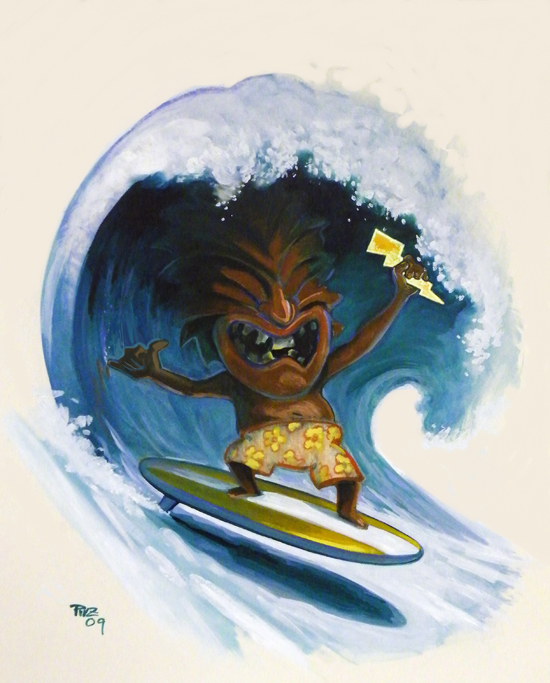zdepski's tiki god on surfboard