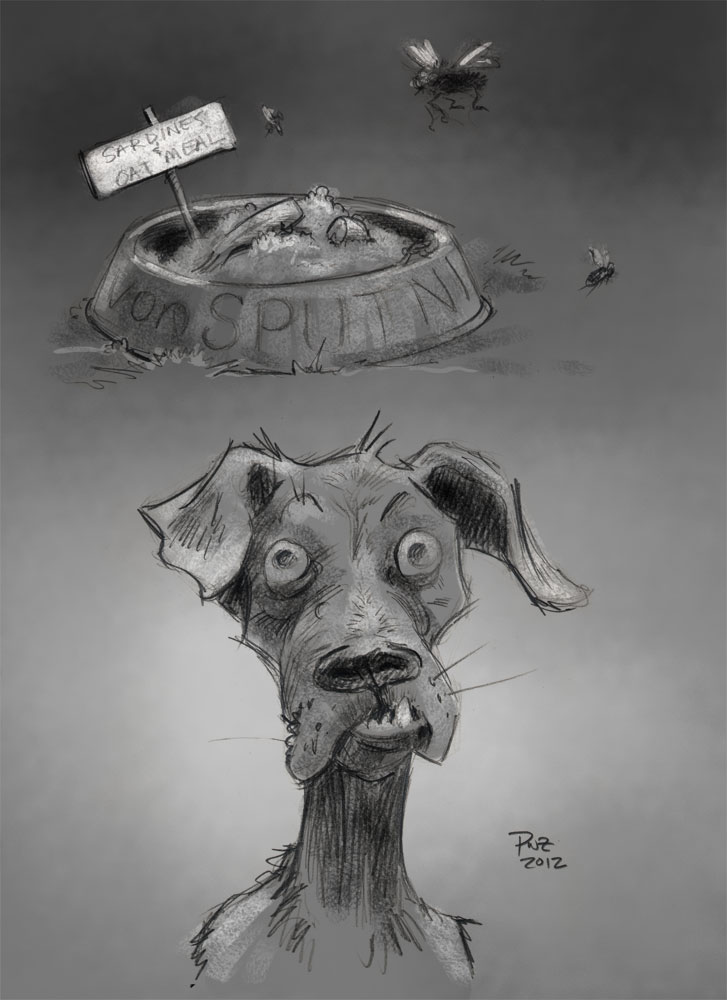 zdepski's illustration of his great aunt's dog, Baron von Sputnik