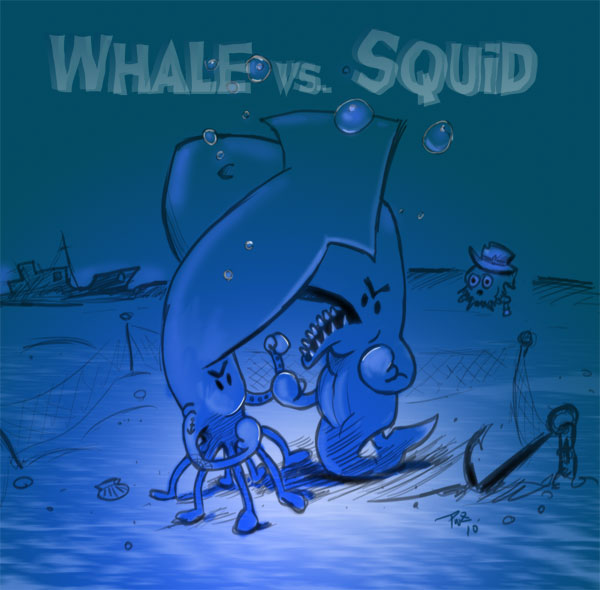 zdepski's digital illustration Whale vs Squid