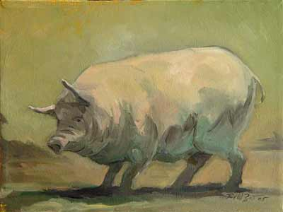 zdepski's pig painting, thinking