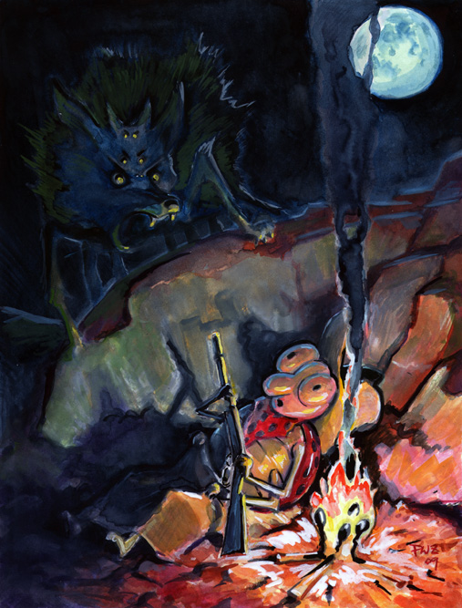 Zdepski's Feller Bug startled awake by a Wolf Spider, watercolor