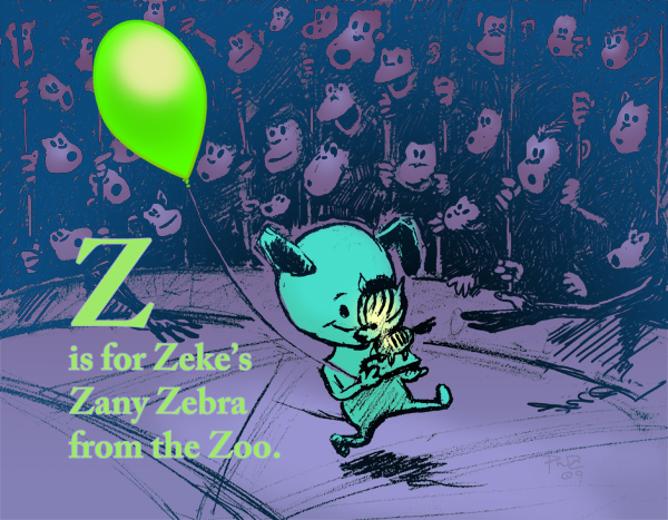 zdepski's digital illustration of Zeke's Zany Zebra